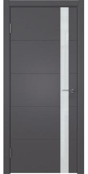 Межкомнатная дверь ZM033 (эмаль графит, лакобель белый) — 7025