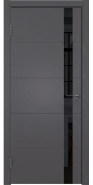 Межкомнатная дверь, стиль hi-tech, ZM033 (эмаль графит, лакобель черный)