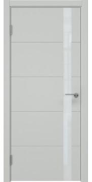 Межкомнатная дверь, стиль хай-тек, ZM033 (эмаль светло-серая, лакобель белый)