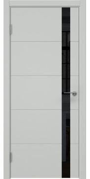 Межкомнатная дверь ZM033 (эмаль светло-серая, лакобель черный) — 7030