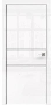 Межкомнатная дверь, ZM034 (белая глянцевая, лакобель белый, алюминиевая кромка)
