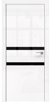 Межкомнатная дверь ZM034 (белая глянцевая, лакобель черный) — 3002