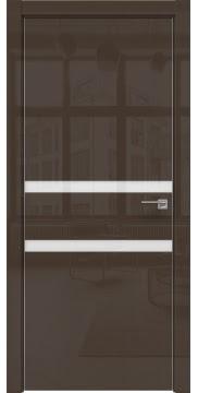 Межкомнатная дверь ZM034 (шоколад глянцевая, лакобель белый) — 3009