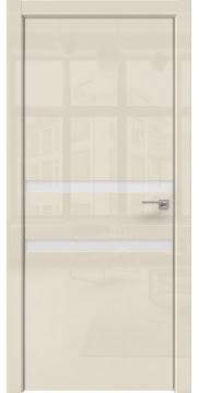 Дверь в стиле хай-тек, ZM034 (ваниль глянцевая, лакобель белый, алюминиевая кромка)