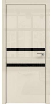 Межкомнатная дверь ZM034 (ваниль глянцевая, лакобель черный) — 3005