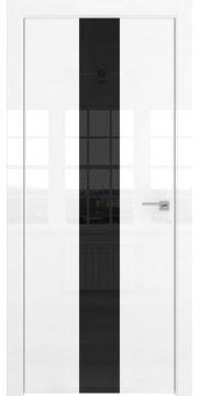 Межкомнатная дверь, ZM035 (белая глянцевая, лакобель черный, алюминиевая кромка)