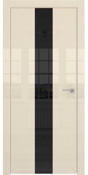 Межкомнатная дверь, ZM035 (ваниль глянцевая, лакобель черный, алюминиевая кромка)