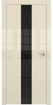 Межкомнатная дверь ZM035 (ваниль глянцевая, лакобель черный) — 3019