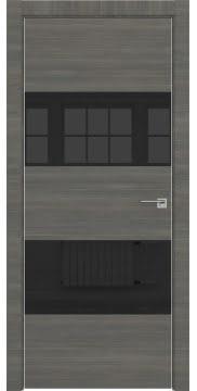 Межкомнатная дверь ZM036 (экошпон ольха, лакобель черный) — 3035