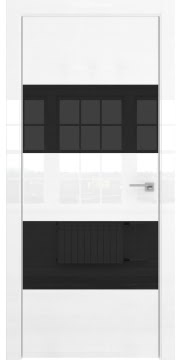 Межкомнатная дверь, ZM036 (белая глянцевая, лакобель черный, алюминиевая кромка)