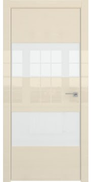 Межкомнатная дверь ZM036 (ваниль глянцевая, лакобель белый) — 3045