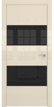 Межкомнатная дверь ZM036 (ваниль глянцевая, лакобель черный) — 3046