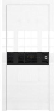 Межкомнатная дверь, ZM037 (белая глянцевая, лакобель черный, алюминиевая кромка)
