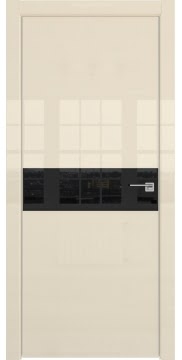 Межкомнатная дверь, ZM037 (ваниль глянцевая, лакобель черный, алюминиевая кромка)
