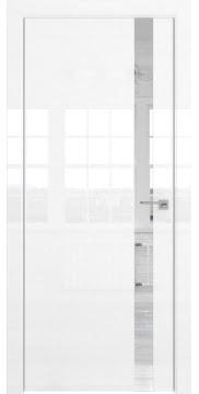 Межкомнатная дверь, ZM038 (белая глянцевая, зеркало, алюминиевая кромка)