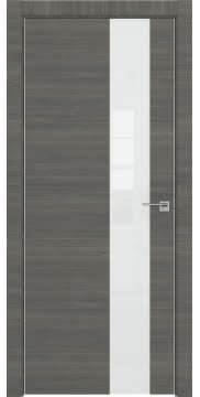 Межкомнатная дверь, ZM039 (экошпон ольха, лакобель белый, алюминиевая кромка)