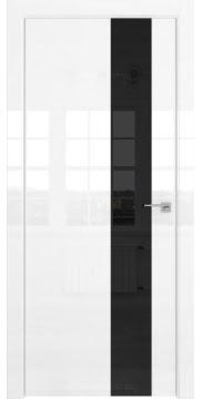 Межкомнатная дверь ZM039 (белая глянцевая, лакобель черный) — 3077