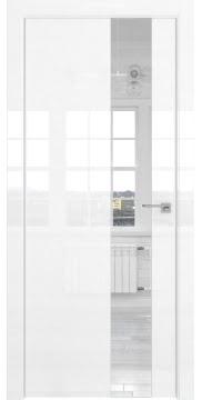 Межкомнатная дверь, ZM039 (белая глянцевая, зеркало, алюминиевая кромка)