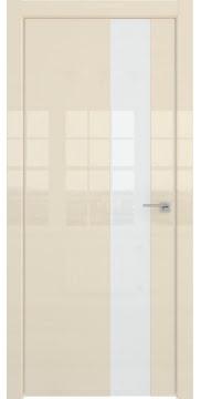 Дверь в стиле хай-тек, ZM039 (ваниль глянец, стекло лакобель)