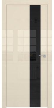 Межкомнатная дверь, ZM039 (ваниль глянцевая, лакобель черный, алюминиевая кромка)