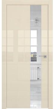 Дверь с каркасом из массива сосны и МДФ, ZM039 (ваниль глянцевая, зеркало, алюминиевая кромка)