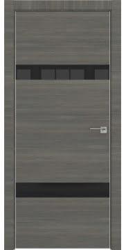 Межкомнатная дверь, ZM040 (экошпон ольха, лакобель черный, алюминиевая кромка)