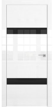Межкомнатная дверь, ZM040 (белая глянцевая, лакобель черный, алюминиевая кромка)