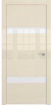 Межкомнатная дверь, ZM040 (ваниль глянцевая, стекло лакобель)