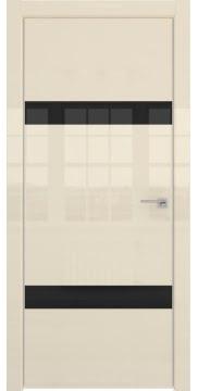Межкомнатная дверь, ZM040 (ваниль глянцевая, лакобель черный, алюминиевая кромка)