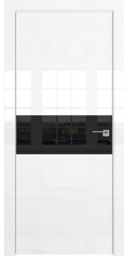 Межкомнатная дверь, ZM041 (белая глянцевая, лакобель черный, алюминиевая кромка)