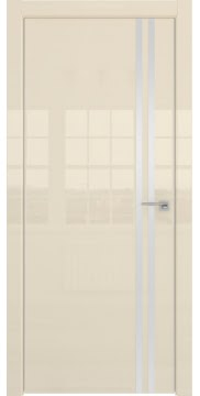 Межкомнатная дверь, ZM043 (ваниль глянцевая, глухая, алюминиевая кромка)