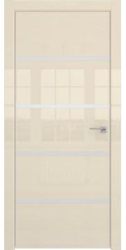 Межкомнатная дверь, ZM044 (ваниль глянцевая, глухая, алюминиевая кромка)