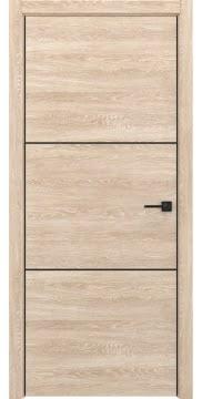 Дверь для ванной комнаты и туалета, ZM047 (экошпон дуб песочный, алюминиевая кромка черная)