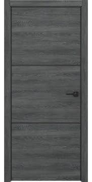 Межкомнатная дверь с каркасом из массива сосны и МДФ, ZM047 (экошпон дуб темный, алюминиевая кромка черная)